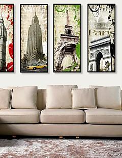 Architectuur Ingelijst canvas / Ingelijste set Wall Art,PVC Zwart Zonder passepartout met Frame Wall Art