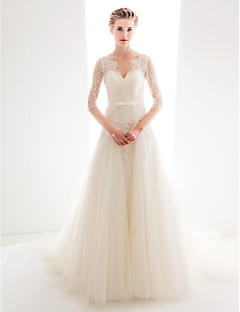 Dress Plus Size / Petite A-line / Princess Sweetheart Chapel Train Lace / Tulle with Bow(s) / Buttons / Lace / Sash / Ribbon