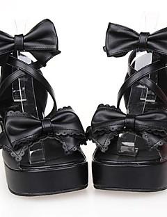 černá pu kůže 6cm platformě tradiční Lolita boty