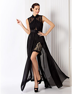Formal Evening/Prom/Military Ball Dress - Black Plus Sizes Sheath/Column High Neck Floor-length Chiffon/Lace