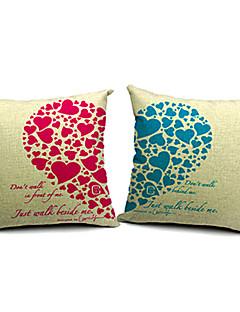 set om 2 moderna kärleksfullt hjärta bomull / linne dekorativa örngott