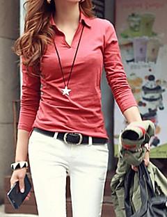Damen Solide T-Shirt - Baumwoll-Mischung Langarm Rundhalsausschnitt