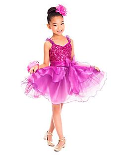 Roupas de Dança para Crianças Vestidos Crianças Treino Elastano Amarrotado / Lantejoulas Sem Mangas Natural