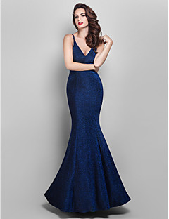 TS Couture® Formal Evening / Prom / Military Ball Dress - Dark Navy Plus Sizes / Petite Trumpet/Mermaid V-neck Floor-length Jersey