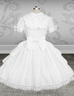 Egyrészes/Ruhák Klasszikus és hagyományos Lolita Lolita Cosplay Lolita ruhák Fehér Egyszínű Rövid ujjú Közepes hossz Ruha / Öv Mert Női
