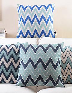 Set of 4 Series of Blue Zigzag Cotton/Linen Decorative Pillow Cover