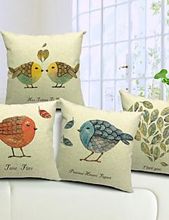 set om 4 land vackra fåglar bomull / linne dekorativa örngott