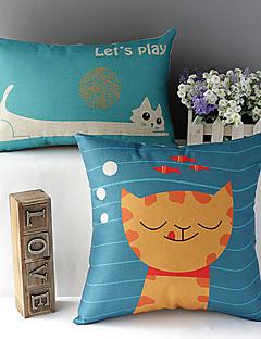 Set of 2 Cat & Fish Cotton/Linen Decorative Pillow Cover