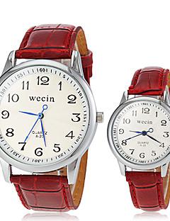 Heren Dames Voor Stel Modieus horloge Polshorloge Vrijetijdshorloge Kwarts PU Band Vintage Zwart Wit Rood Bruin Wit Zwart Bruin Rood