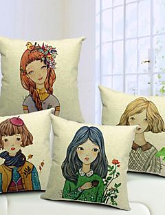 set om 4 land flickor bomull / linne dekorativa örngott
