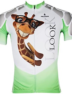 PaladinSport Men's Cycling Jersey Short Sleeves Giraffe Spring and Summer Style 100% Polyester Short Sleeved Cycling Jersey