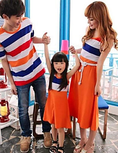 Family's Fashion Joker Leisure Parent Child Rainbow Stripe T Shirt And Dress