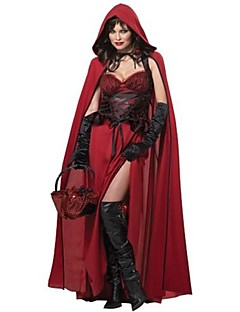 Cosplay Costumes Party Costume Fairytale Festival/Holiday Halloween Costumes Red Patchwork Dress Shawl Halloween Carnival Female Terylene