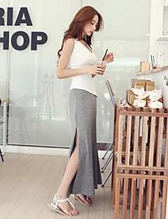 kvinnors casual split bomull enfärgad maxi kjol / bottnar