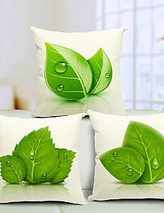 ensemble de 3 belles feuilles coton / lin taie d'oreiller décoratif