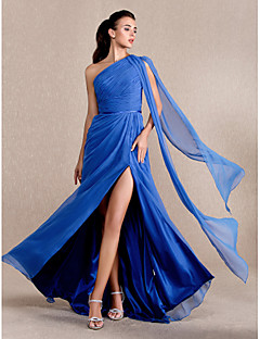 Fiesta formal/Fiesta de baile/Baile Militar Vestido Corte A/Corte Princesa Barrer / cepillo tren - Solo Hombro Gasa Tallas grandes