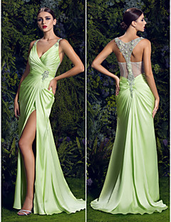 TS Couture Prom / Formal Evening Dress - Sage Plus Sizes Sheath/Column V-neck Sweep/Brush Train Satin Chiffon