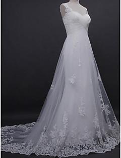 A 라인 웨딩 드레스를 lanting - 아이보리 법원 기차 스트랩 레이스 / 얇은 명주 그물