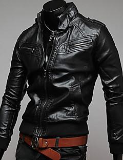charels pánské kauzální límec kožené oděvy bundy