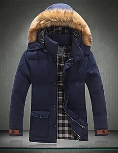 Herren Gefüttert Mantel - Normal Einfarbig Lang Baumwollmischung
