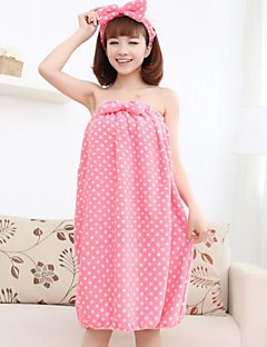 Women's Fashion Pink Polka Dot Bowknot Bath Towel Lounge Wear