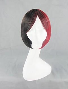 하라주쿠 스타일의 검은 색과 빨간색 짧은 로리타 가발