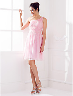 Платье для подружек невесты - Розовый Трапеция На одно плечо Длина до колен  Шифон