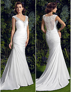 Lan Ting Trumpet/Mermaid Wedding Dress - Ivory Court Train V-neck Charmeuse