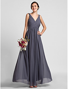 Lanting Bride® Floor-length Chiffon Bridesmaid Dress Sheath / Column V-neck Plus Size / Petite with Draping / Criss Cross