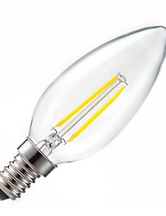 ON E14 2 W 2PCS COB 200LM LM Warm White C Dimmable/Decorative LED Filament Lamps AC 220-240 V