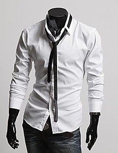 Men's Solid Work / Formal Shirt,Cotton Blend Long Sleeve Black / White / Gray