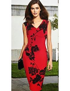 sem mangas com decote em V flor impressão BODYCON vestidos Slim monta mulheres