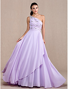 저녁 정장파티/프롬/밀리터리 볼 드레스 A라인 쿼트 트레인 원 숄더 쉬폰 플러스 사이즈