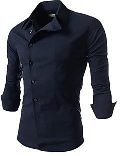 MANWAN WALK®Men's Slim Formal Side Button Shirt with Solid Color