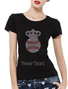 Personalized Rhinestone T-shirts Football And Crown Pattern Women's Cotton Short Sleeves