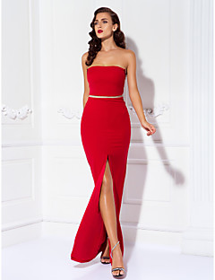Prom / Formal Evening / Military Ball Dress - Sexy / Open Back / Elegant Plus Size / Petite Sheath / Column Strapless Floor-length Jersey