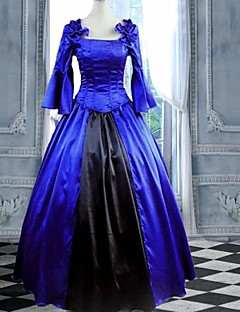 langermet fotsid blå bomull Gothic Lolita kjole