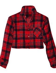 여성의 체크무늬 셔츠 카라 긴 소매 셔츠,심플 캐쥬얼/데일리 레드 면 봄 / 여름 / 가을 불투명