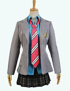 Inspired by Your Lie in April Cosplay Anime Cosplay Costumes Cosplay Suits Patchwork Gray Long Sleeve Coat / Shirt / Skirt
