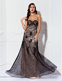 Formal Evening/Military Ball Dress - Champagne Plus Sizes A-line Sweetheart Floor-length Stretch Satin/Lace