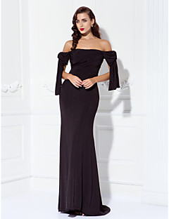 Formal Evening/Prom/Military Ball Dress - Black Plus Sizes Sheath/Column Off-the-shoulder Sweep/Brush Train Jersey