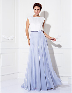 A-line Jewel Sweep/Brush Train Charmeuse And Tulle Evening Dress (1422173)