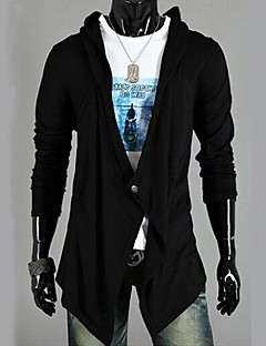 Men's Solid Casual Style Knitted Cardigan, Cotton Long Sleeve Black / Gray Spring / Fall Men's Fashion Sweater Outerwear