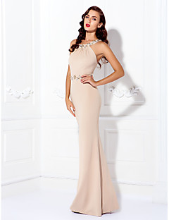 Formal Evening / Black Tie Gala Dress - Plus Size / Petite Sheath/Column Jewel Floor-length Jersey