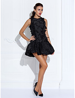 Cocktail Party/Wedding Party Dress - Black Plus Sizes A-line Jewel Short/Mini Taffeta/Organza