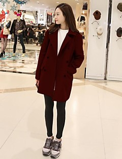 Women's Coat,Solid Long Sleeve Spring / Fall / Winter Blue / Red / Brown Wool / Polyester / Others Medium