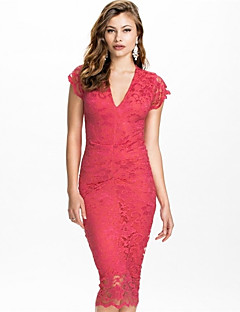 Topro Floral Embroidery Vintage Elegant Midi Dress for Women Slim Casual Bodycon Dress 9233