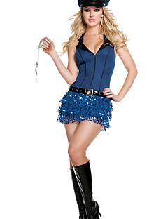 Hot Girl Deluxe Ink Blau Polyester Polizeiuniform mit Spielzeug-Handschellen & Spontoon