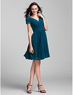 Lanting Bride® Knee-length Georgette Bridesmaid Dress A-line V-neck Plus Size / Petite with Sash / Ribbon / Criss Cross / Ruching