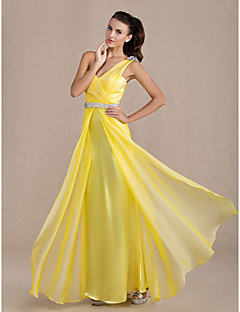 Formal Evening/Prom/Military Ball Dress - Daffodil Plus Sizes Sheath/Column One Shoulder Floor-length Chiffon